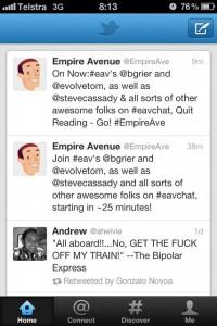 Vista de la pantalla principal de Twitter para iPhone