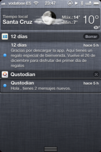 Pantalla de iPhone con el panel de notificaciones