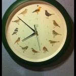 Reloj marcando las ocho menos diez y con pájaros dibujados en cada hora. esfera redonda.